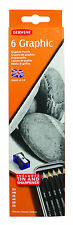 Derwent Graphic Graphite Pencil 6 Tin - 2H - 8B Drawing Sketching FREE Sharpener