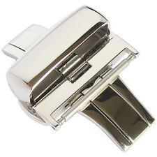 24mm Polished Stainless Steel Silver Heavy Butterfly Deployant Clasp Buckle