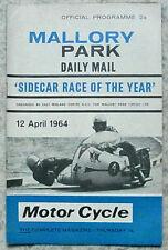 Mallory Park 12 apr 1964 motor cycle Intl side-car de l'année programme officiel