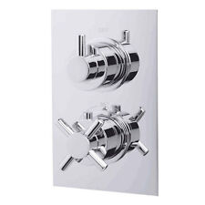 Concealed Thermostatic Traditional Dual Control Shower Bath Valve Round Mixer