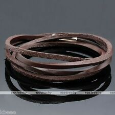 Fashion Rock Men Coffee Real Genuine Leather Multilayer Wrap Wristband Bracelet