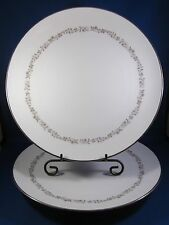 """Kenmark Fine China Dinner Plate 10.5"""" Meadow Brook Pattern #6893 White 2 pieces!"""