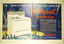 Vintage 1952 HOTPOINT PUSHBUTTON ELECTRIC RANGE Large Two-Page Magazine Print Ad