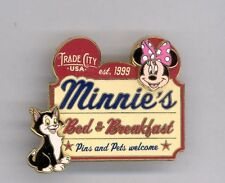 Disney Trade City Minnie Mouse Bed & Breakfast Figaro Cat Pets Welcome Sign Pin