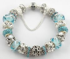 NEW Authentic PANDORA Bracelet with AQUA & WHITE European Charms & Murano Beads