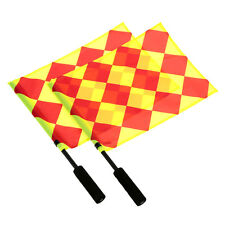2 x Football Referee Linesman Flags World Cup Euro Premier League + Pouch FLOWER