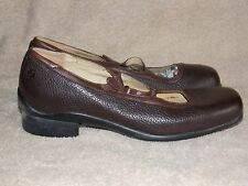 Aravon Brown Comfort CRISCROSS Pebble Leather Mary Jane Shoes 8B Used