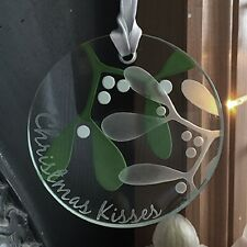"Spaceform ""Mistletoe"" Glass Christmas Token Romantic Gift Ideas For Him 2005"