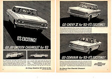 1963 CHEVROLET IMPALA / CHEVY II / CORVAIR ~ ORIGINAL FULL SIZE  2-PAGE PRINT AD