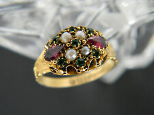 ANTIQUE VICTORIAN 15CT GOLD GARNET, EMERALD & SEED PEARL RING FROM 1884!