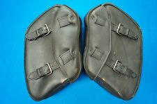 Genuine Harley Dyna Dark Custom Rigid Distressed Leather Left & Right Saddlebags