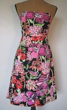LILLY PULITZER black w/bold floral print COTTON STRAPLESS DRESS 8P