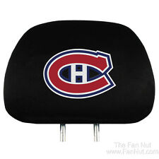 Montreal Canadiens Habs 2-pack Black Velour Auto Head Rest Covers NHL Hockey