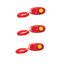 New 3X Click Clicker Training Style Dog Trainer Pet Trainer Wrist Strap Red