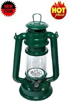 "15 LED Green Hurricane Lantern 9-1/2"" Lamp Light Rustic Style Camping RV Tent"