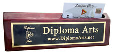 Personalized Rosewood Piano Finish Office Desk Wedge Name Plate w/ Card Holder