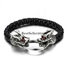 Silver Tone Dragon Head Black Leather Braided Rope Mens Cuff Bracelet Wristband