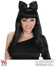 Long Black Bow Wig With Broach Funky Emo Gothic Halloween Fancy Dress