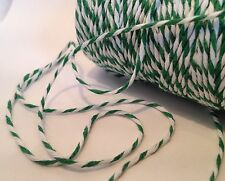 1mm CHRISTMAS GREEN & WHITE COTTON BAKERS TWINE STRING FULL ROLL 100m