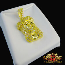 NEW 10K AUTHENTIC GOLD FULLY ICY HOLY JESUS FACE CROSS CHARM PENDANT FREE CHAIN