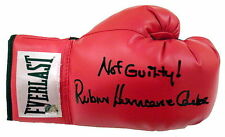 "Rubin ""Hurricane"" Carter Not Guilty ! Signed Everlast Boxing Glove ASI Proof"