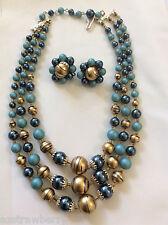 VTG made in Japan Blue  & Gold 3 strands necklace & cluster clip earrings set