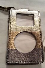 Coach Multi-Stripe Leather Mini IPod/MP3 Gold Metallic Colors Case New Wristlet