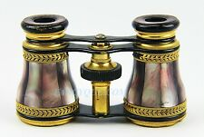 ANTIQUE FANCY BRONZE WORK FRENCH OPERA GLASSES DARK RAINBOW MOTHER OF PEARL # 55