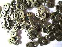 5 or 10 Bronze Metal Buttons Charms Jewellery Embellishment