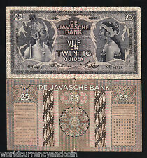 NETHERLANDS INDIES 25 GULDEN 1934 P80a INDONESIA CURRENCY MONEY BILL BANK NOTE