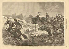 Fox Hunting In England, Riding Sidesaddle, Vintage, 1878 French Antique Print