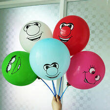 10 Funny Big Nose Smiley Party Balloons, Mixed Colours Latex Party Balloons