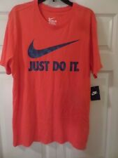 NIKE MEN'S SWOOSH JUST DO IT T-SHIRT RED w/BLUE GRAPHICS Size XXL New MSRP $25
