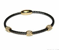Two Tone 3 Pave Barrels AAA CZ Cable Bangle Bracelet With Magnetic Lock-HE