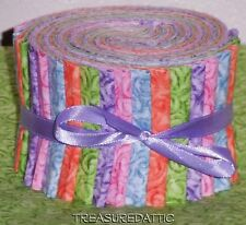 """Quilting Fabric Jelly Roll 20~2.5"""" Fabric Strips Pastels Bright Lavender Orange"""