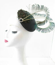 Peacock Feather Fascinator Headpiece Dark Green Black Vintage Races Hat 1920 S65