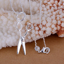 Fashion Charming 925 Sterling Silver Plated Scissors Pendant Chain Necklace
