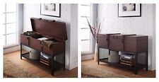 Brown Entryway Rustic Vintage Trunk Storage Table Console Wood Metal Industrial