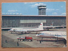 POST CARD Aeroflot Air Port LINER Plane Ways Terminal Craft Domodedovo IL-18 Fly