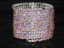13 SPIRAL SILVER AB IRIDESCENT RHINESTONE BANGLE CRYSTAL UPPER ARM BRACELET