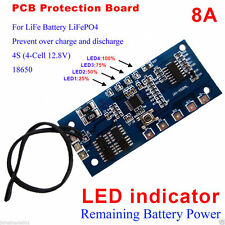 12.8V 4S 8A LiFe Battery 18650 LiFePO4 BMS PCM Protection with Capacity Display