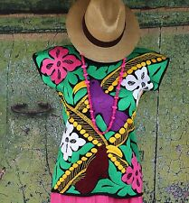 Hand Embroidered Toucan Bird Huipil Blouse, Jalapa Mexico, Hippie, Boho, Cowgirl