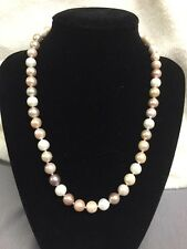 "17"" Freshwater Pearl Necklace w/ Sterling Silver Clasps ~ Pink White Purple 925"