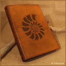 A4 BROWN LEATHER JOURNAL, NOTEBOOK. AMMONITE, SEASHELL, free personalisation.