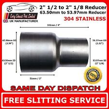 "2.5"" to 2.125"" Stainless Steel Standard Exhaust Reducer Connector Pipe Tube"