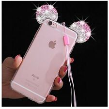 for iPhone 7 - Pink Diamond Bling Rhinestone Minnie Mouse Ears Rubber Case Cover