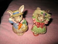 Fitz Floyd Easter Spring Dressed Up Rabbit Salt & Pepper Shakers Stunning Cute