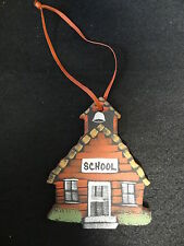 OLD FASHION SCHOOL HOUSE Painted ORNAMENT Wall Hanging DECORATION - Teacher GIFT