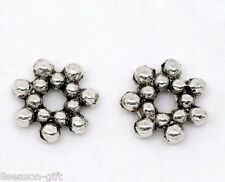 300 Silver Tone Flower Spacer Beads 6.5mm