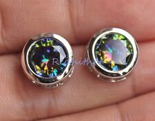 18K White Gold Filled -11MM Round MYSTICAL Rainbow Topaz Hollow 2-Layer Earrings
